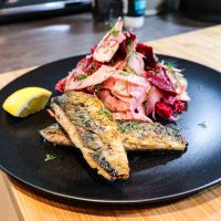 Pan Fried Mackerel fillets with beetroot and fennel salad