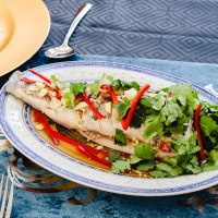 Steamed Sea Bass with zesty lime sauce (Plaa Neung Manow)